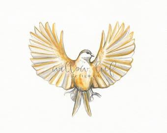 Freedom's Flight, Yellow Bird, Minimal Chic, Wall Art, Archival Watercolor Printable