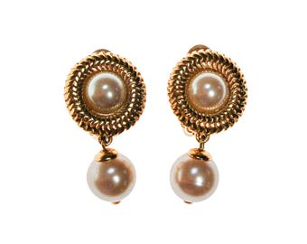Reserved Richelieu Pearl Earrings, Gold Tone, Drop, Dangle, Clip On