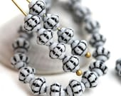 ON SALE 30pc Black and White Fancy Bicone beads, Czech Republic glass spacer beads - 6mm - 1519