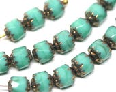 Turquoise green cathedral beads 6mm Czech glass round beads Fire polished turquoise glass beads Bronze ends - 20Pc - 0505