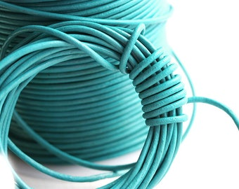 1.5mm Round Natural Leather cord - Bright Turquoise Green - 10 feet, LC072