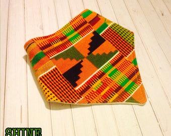 Kente Cloth Bibdana - Bib for babies made with kente, ankara fabric. Perfect gift for baby shower. Made by SHINE Cloth.