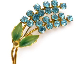 Vintage 1950s Blue Floral Paste Glass Rhinestone Brooch