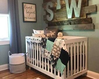 Woodland Boy Crib Bedding- Navy Buck, Moose, Bear, Fletching Arrow, Mint, and Navy Crib Bedding Ensemble