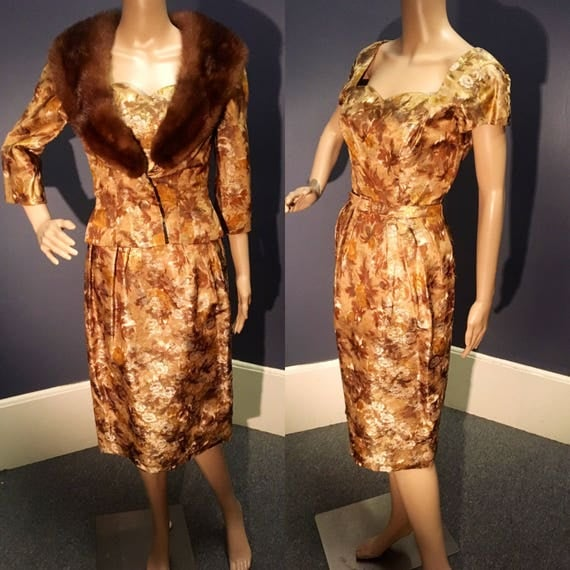 "Vintage 1960s 2 Pc Brocade Dress and Jacket with Mink Fur Collar, w Belt S 26"" W"