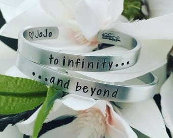 Mother Daughter Child Bracelets - To Infinity and Beyond - Hand Stamped Cuff Bracelets - Personalized Bracelets - Cuff Bracelets - Stamped