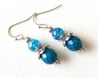 SALE Blue Earrings, Blue Glass Earrings, Blue Beaded Earrings, Blue Czech Glass, Blue Dangle Earrings, Blue Drop Earrings, Blue Jewelry