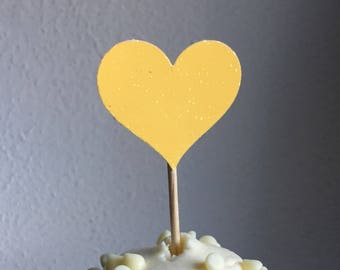 12 Yellow Heart Cupcake Toppers