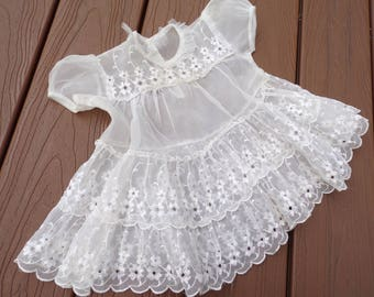 sheer VINTAGE BABY DRESS white 60's 3-6 months