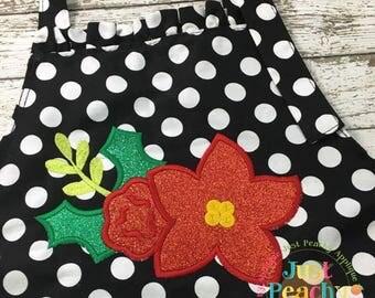 Christmas Floral Machine Embroidery Applique Design