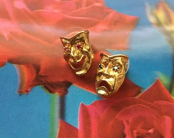 Vintage 80s Gold plated Drama mask rhinestone eyes earrings