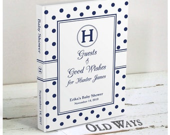 Sweet Classics Navy Blue Baby Shower Guest Book - Monogram, Polka Dot - Wishes for Baby Book Personalized for a Baby Boy Shower