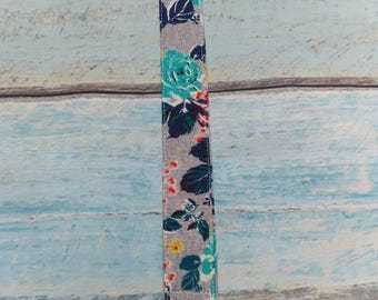 Gray Multi Colored Flower Baby Pacifier Clip Paci Leash