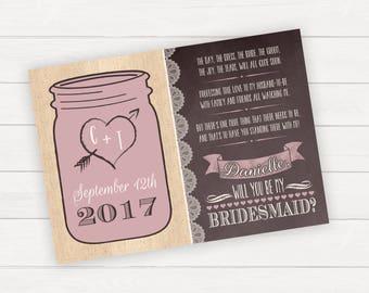 Will You Be My Bridesmaid Mason Jar Invitation Rustic Wedding Bridal Party Invitation Rustic Invitation Burlap Wedding Bridesmaid Card