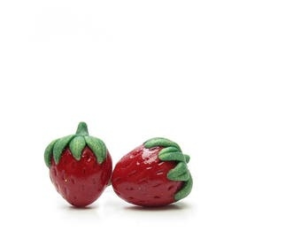 Strawberrry Earrings Miniature Polymer Clay Strawberries on Posts