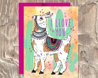I Llove You  Llama \ Anniversary \ Love Card