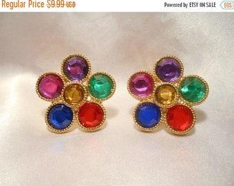 50% Off Sale Vintage Statement Jewel Tone Rhinestone Stone Runway Retro Clip Style Earrings Set in Gold Tone
