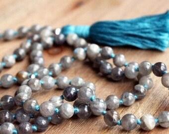 Labradorite Mala Necklace - Prayer Beads Meditation Mantra 108 Mala Yoga Japa Hindu Knotted Rosary Blue