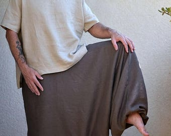 ON SALE Pure Linen Harem Pants with Side Pockets, Washed Linen Pants, Woman, Man, Unisex, Regular, Tall, Plus size, Custom Made. Big Color C