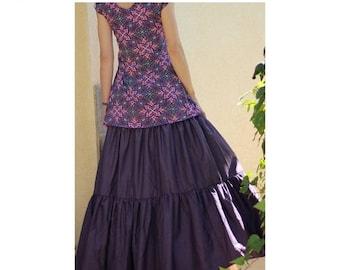 ON SALE Long Gypsy Skirt - Tiered Maxi Skirt - Plus size skirt - Boho Bohemian skirt -  Summer skirt - Purple skirt - Size S/M L/Xl Xxl Xxxl
