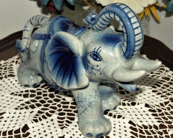 gorgeous antique elephant ~ trunk up means good luck ~ heavy porcelain ceramic ~ oriental style ~ blue gray