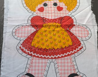 Vintage  1974 RARE Springs Mills uncut cut & sew heart cheeks gingham girl cloth toy  Vintage Pillow Doll,  doll Fabric making Soft Toy