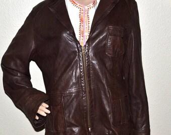 Vintage women GAP brown  leather jacket zipped blazer coat 90s size XL Fall Fashion