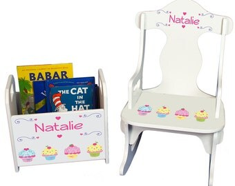 Personalized Cupcakes Book Caddy and Puzzle Rocker Set Baking Little Bakersweet Treats Confection rknrd-318