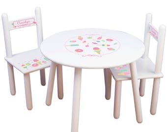Girls Table & Chair Set Custom Sweet Treats Table and Chairs Childs Personalized Cupcake Birthday Party Table nursery playroom TABLESETRND