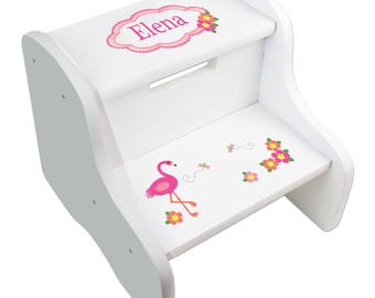 Beach step stool etsy personalized white pink flamingo step stool custom childs stool with flamingos palm trees for beach tropical negle Image collections