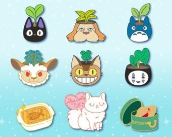 PREORDER - Studio Ghibli Inspired Hard Enamel Pins // lapel, badge, gold, plant, leaf, green, Jiji, Heen, Totoro, Nekobus, No Face, Cat