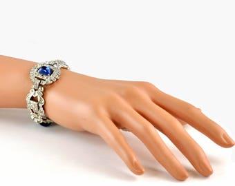 1930's Art Deco Chrome Plated Faux Diamond and Sapphire Bracelet - Statement Bracelet