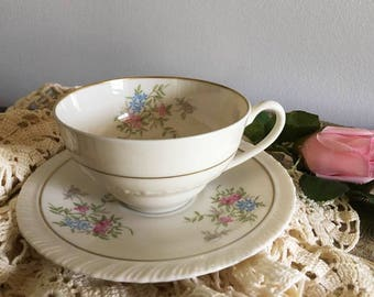 Tea Cup and Saucer Spring Time by Hanover China / Delicate Pink and Blue Mini Flowers / Bridal Shower / Baby Shower / Tea Party