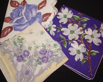 Vintage Handkerchiefs - Vintage Hankies - Vintage Handkerchiefs in green - 3 Purple vintage hankies - Flowered Hankies-Dogwood on Purple