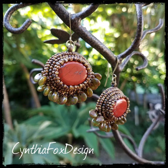 Red Jasper Beaded Earrings with Translucent Olive Picasso Glass Fringe