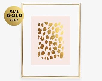 Gold Foil Print LEOPARD PRINT New House Gift  Poster New Job Gift New Apartment Wall Art Modern Nature Decor Blush Pink Poster B3