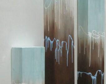 Art- Painting-  Wood Wall Art-  Abstract Painting (On Wood)-  Reclaimed Wood Wall Art-  Pillar Art-  Blue + Brown
