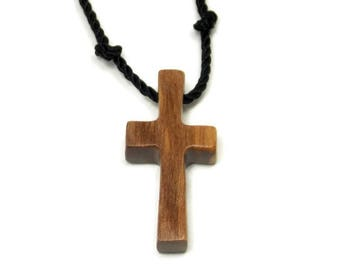 Walnut Cross Pendant, Simple Cross Necklace, Mens Cross Pendant, Wood Cross Necklace, Walnut Hardwood, Mens Jewelry Cross, Gifts Under 20
