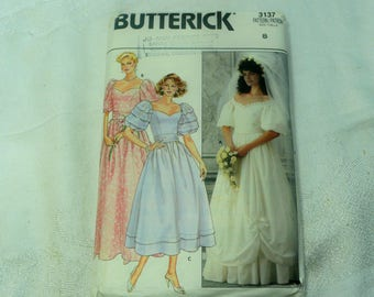 Butterick 3137 Wedding Dress, Formal Gown Sewing Pattern, Size 8