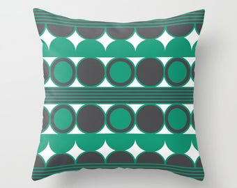 34 colours, Emerald Green, Mid Century Modern, Geometric Circles Pillow, Charcoal Black pillow case, Indoor or Outdoor, Faux Down Insert