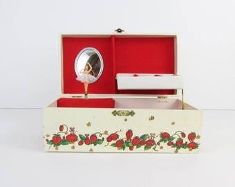 SALE Strawberry Fields Ballerina Jewelry Box - Vintage 1970s Musical Jewelry Storage