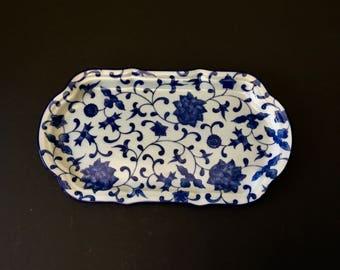 Vintage Takahashi Floral Motif Blue and White Rectangular Tray, Porcelain, Japan