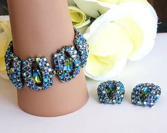 Rhinestone Bracelet and Earring Set - Blue and Green Rhinestones - AB Rhinestones - Vintage Link Style Bracelet & Earring Set Demi Parure
