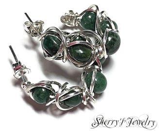 Sterling silver hoops, Jade hoops, handmade hoop earrings, Silver hoop earrings, Jade hoop earrings