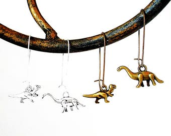 DINO SALE - Dinosaur Earrings - Dino Dangle Earrings in Silver or Bronze - Brontosaurus and Tyrannosaurus Rex / T Rex
