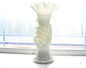 Vintage Milk Glass Hand Vase Made In France