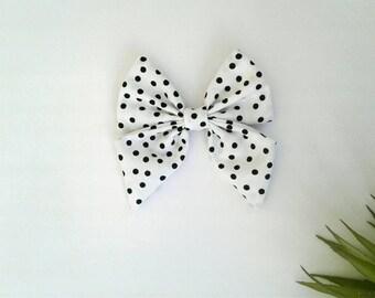 Girl's minimal polka dots black white hair bow clip girls vintage modern