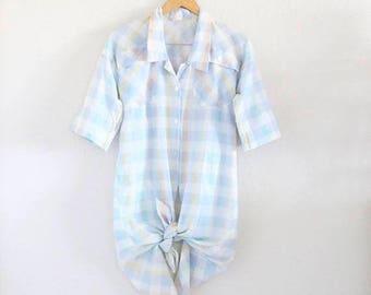 ON SALE plaid shirt dress / m