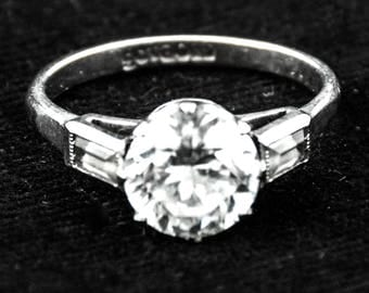 White Gold Spinel 2+ Carat Engagement Ring Size 6.5