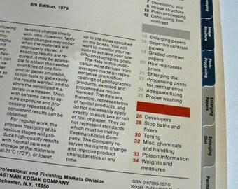 Kodak Darkroom Dataguide Black & White Film Processing Library Film Paper Data, Chemistry Guide Reference Book, Kodak Publication